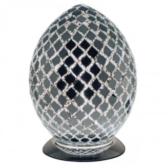 Chrome-mirrored-medium-mosaic-glass-egg-lamp